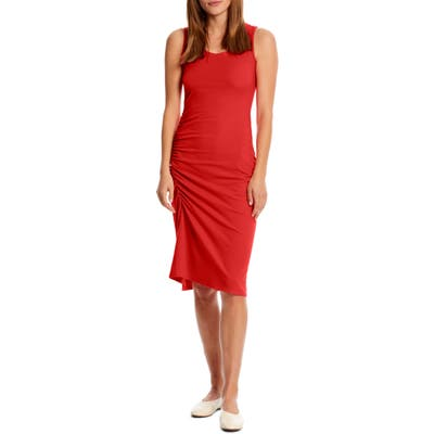 Michael Stars Natalia Ruched Stretch Cotton Tank Dress, Red