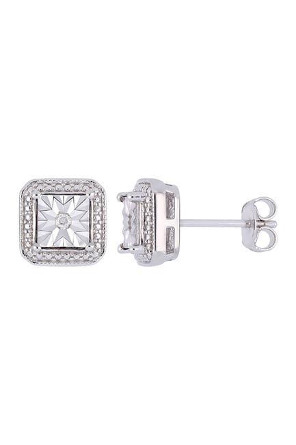 Image of Delmar Sterling Silver Diamond Earrings - 0.04 ctw