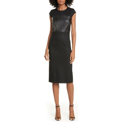 Judith & Charles Heathrow Leather Detail Pencil Dress, Black