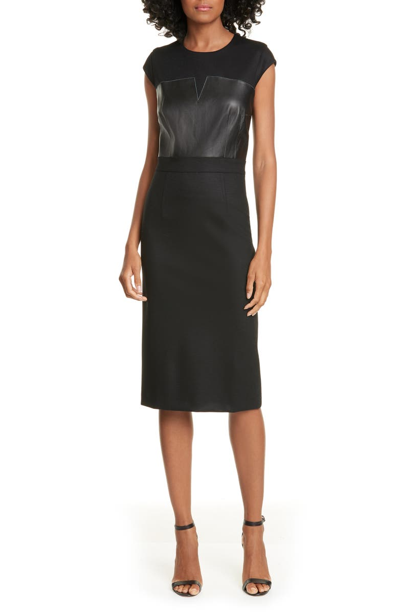 JUDITH & CHARLES Heathrow Leather Detail Pencil Dress, Main, color, BLACK