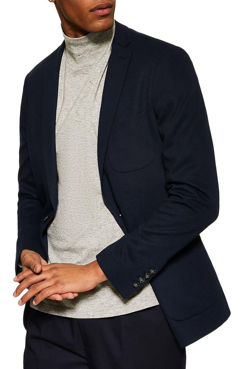TOPMAN Classic Fit Jersey Blazer, Main, color, NAVY BLUE