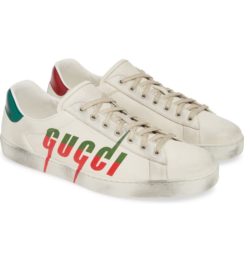 GUCCI New Ace Logo Sneaker, Main, color, MULTI WHITE