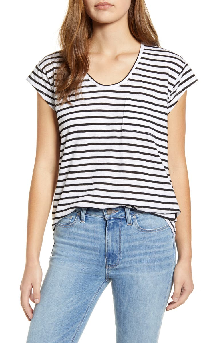 GIBSON x Hi Sugarplum! Mondello Slub Pocket Tee, Main, color, BLACK/ WHITE STRIPE