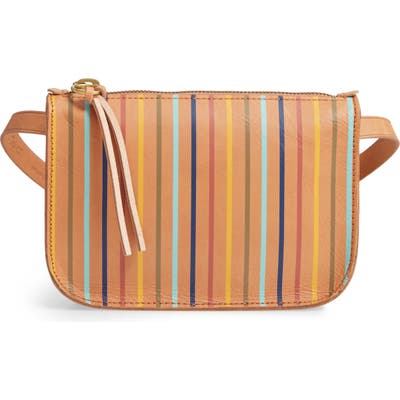 Madewell The Simple Rainbow Stripe Pouch Belt Bag - Brown