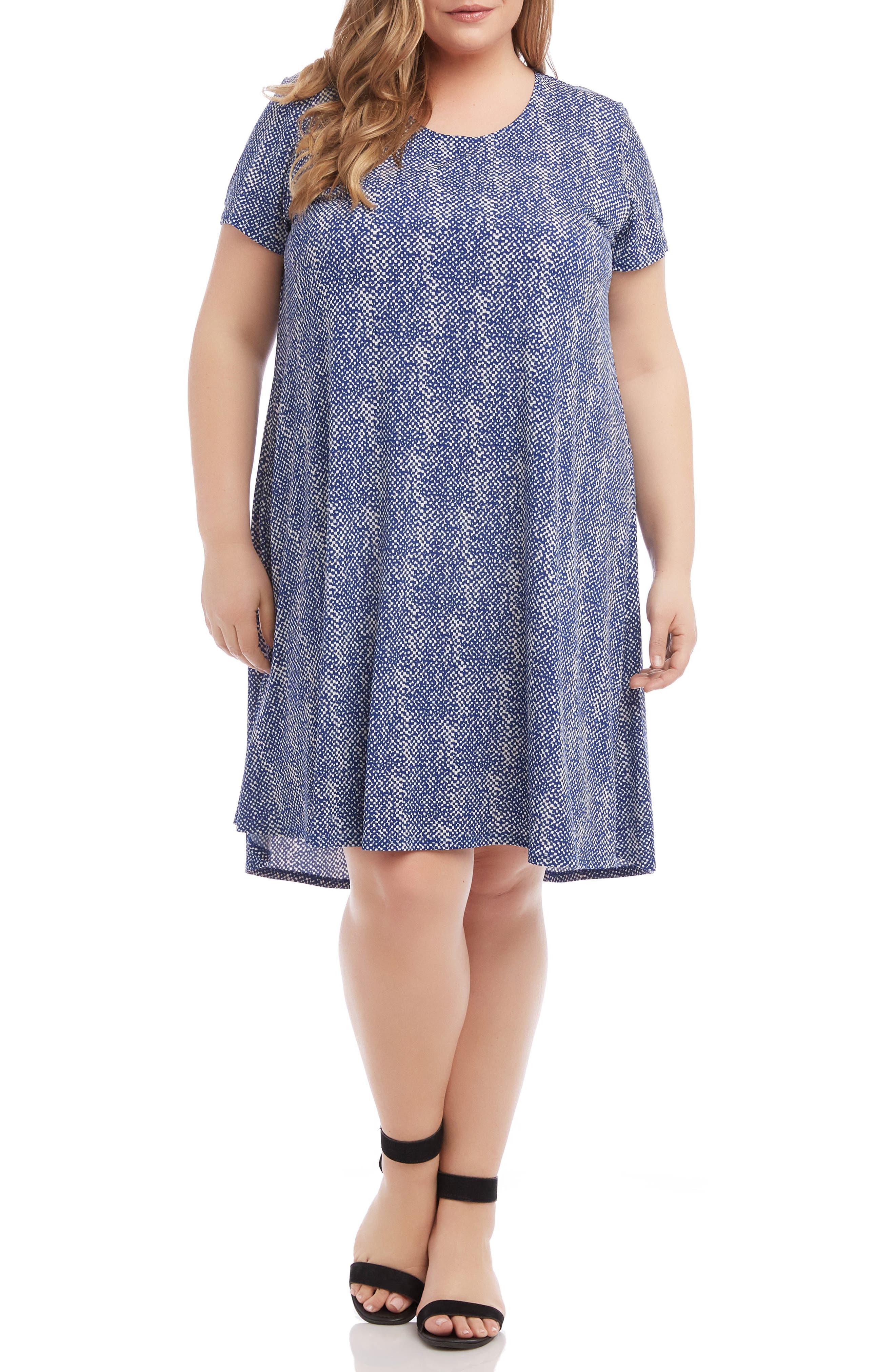 Plus Size Karen Kane Maggie Print Trapeze Dress, Blue