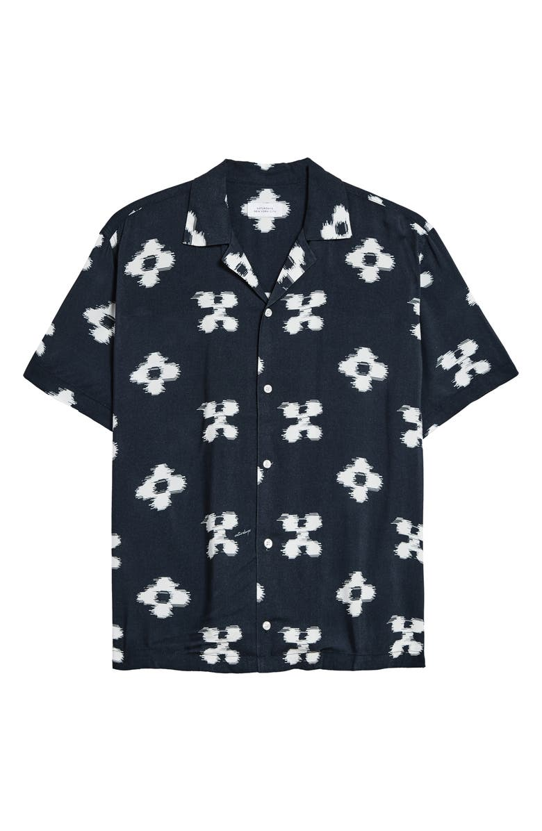 SATURDAYS NYC Canty Ikat Floral Short Sleeve Button-Up Camp Shirt, Main, color, MIDNIGHT