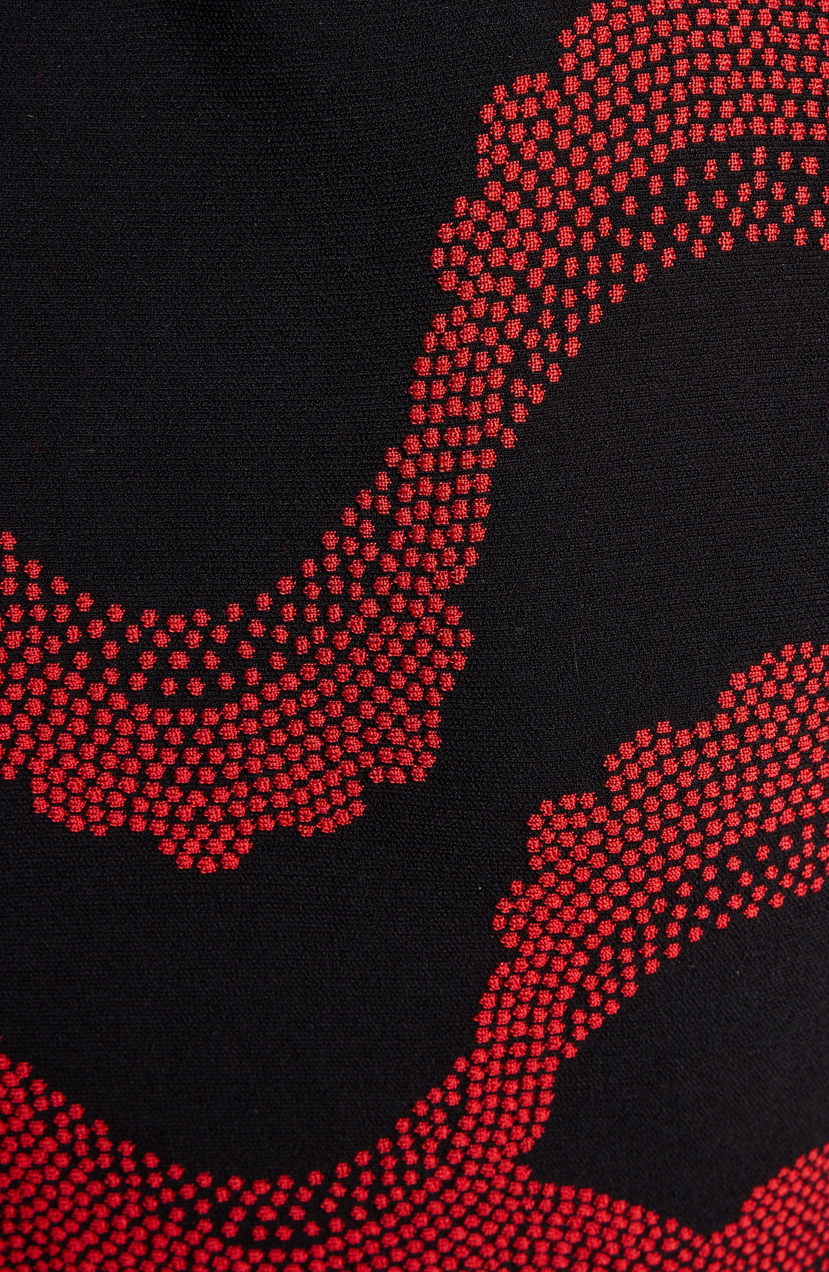 ,                             Wave Jacquard Midi Dress,                             Alternate thumbnail 5, color,                             BLACK/ RED