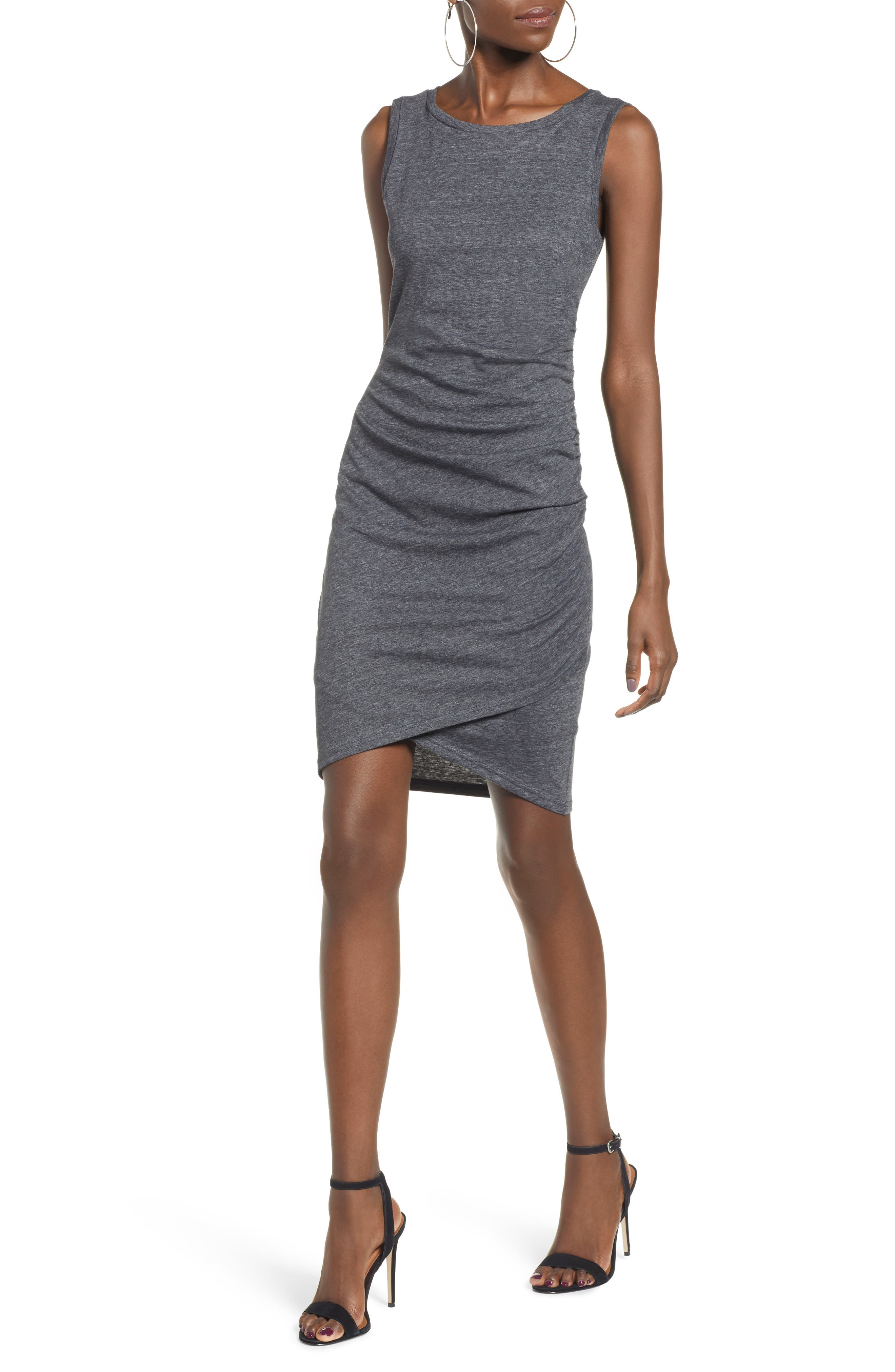 Leith Ruched Body-Con Tank Dress, Grey