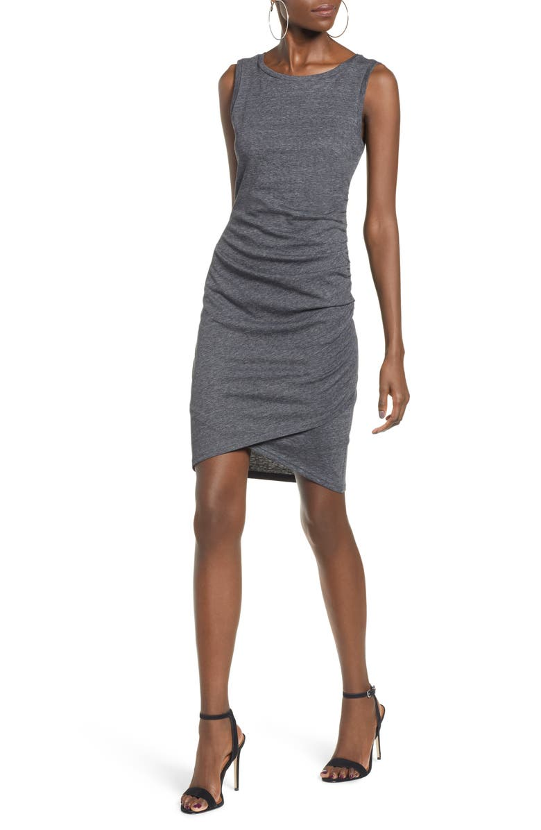 LEITH Ruched Body-Con Tank Dress, Main, color, GREY MEDIUM CHARCOAL HEATHER