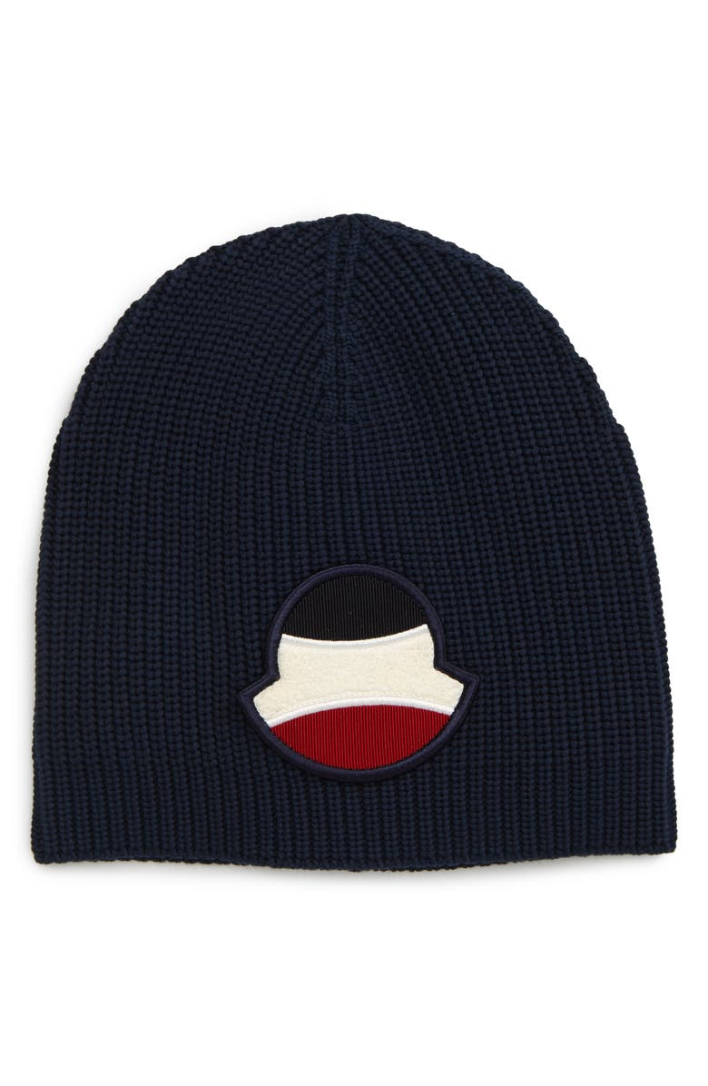 MONCLER Tricot Beanie, Main, color, NAVY