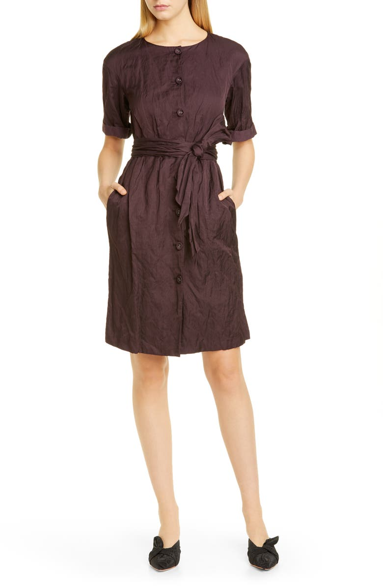 BROCK COLLECTION Belted Metallic Woven Shirtdress, Main, color, PURPLE