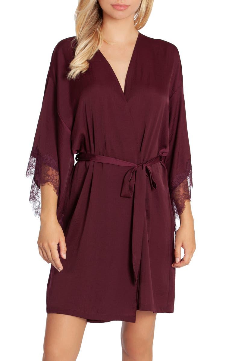 MIDNIGHT BAKERY Rose Noir Lace Trim Wrap, Main, color, 500