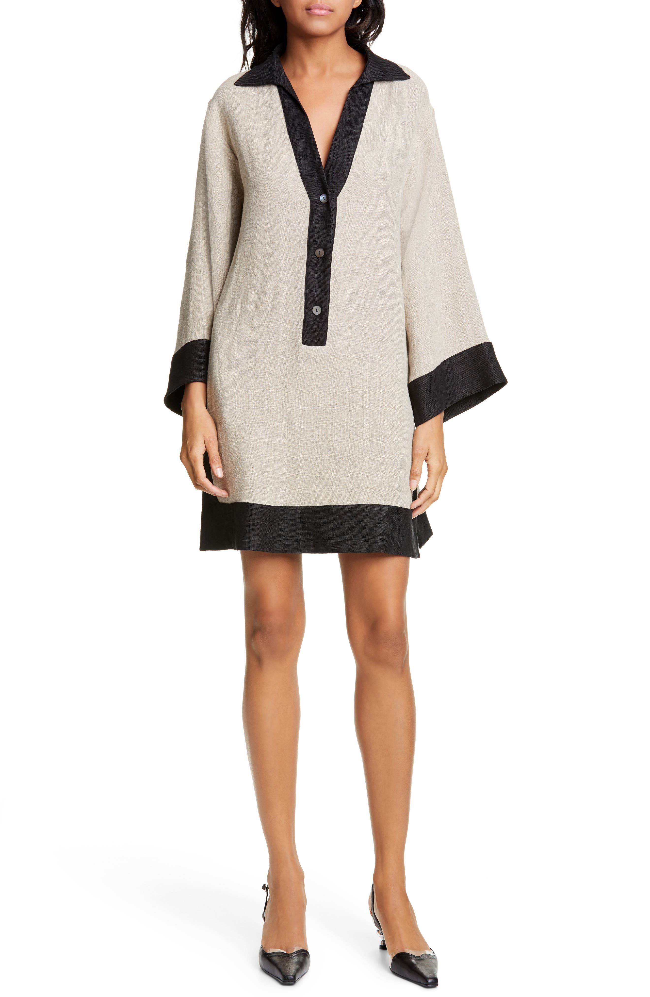 Staud Chaise Tunic Dress, Beige