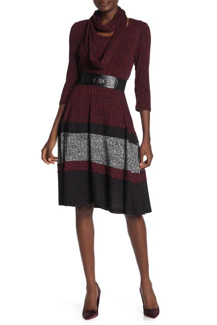 Image of Robbie Bee Belted Colorblock Sweater Dress
