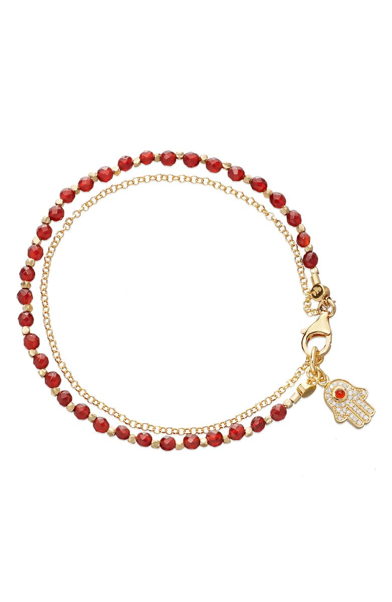 ASTLEY CLARKE Hamsa Biography Bracelet, Main, color, YELLOW GOLD/ RED AGATE