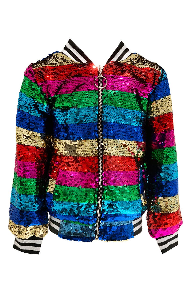 LOLA & THE BOYS Chasing Rainbow Sequin Jacket, Main, color, MULTI