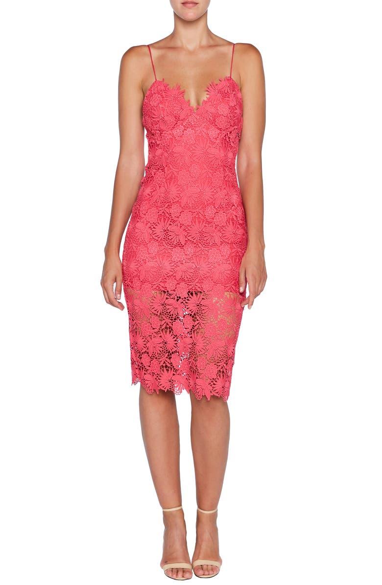 BARDOT Tayla Lace Cocktail Dress, Main, color, BEETROOT