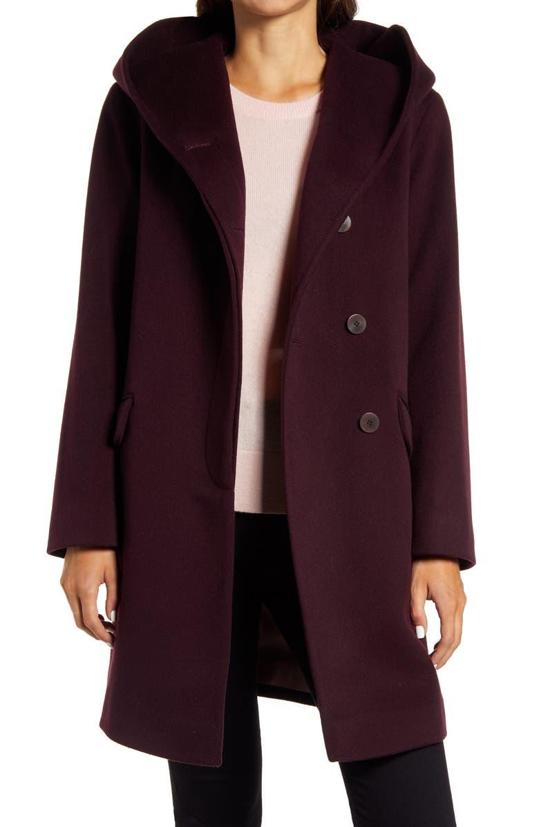FLEURETTE Hooded Wool Coat, Main, color, BRINJAL