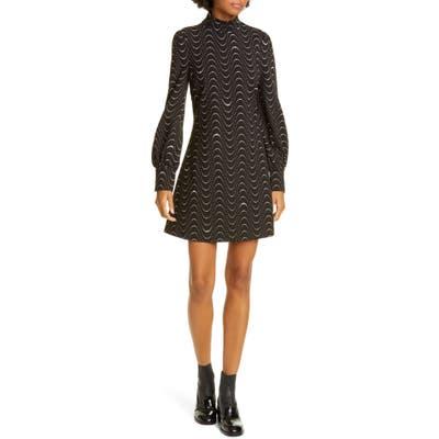 Kate Spade New York Wavy Dot Long Sleeve Ponte Shift Dress, Black