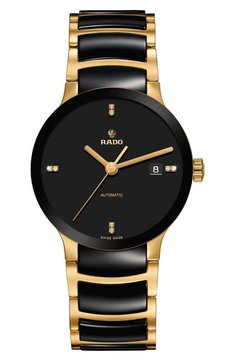 RADO Centrix Automatic Diamond Ceramic Bracelet Watch, 38mm, Main, color, GOLD/ BLACK
