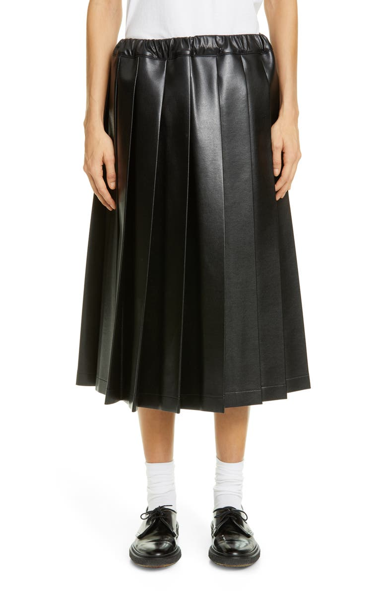 TRICOT COMME DES GARÇONS Pleat Faux Leather Midi Skirt, Main, color, 001