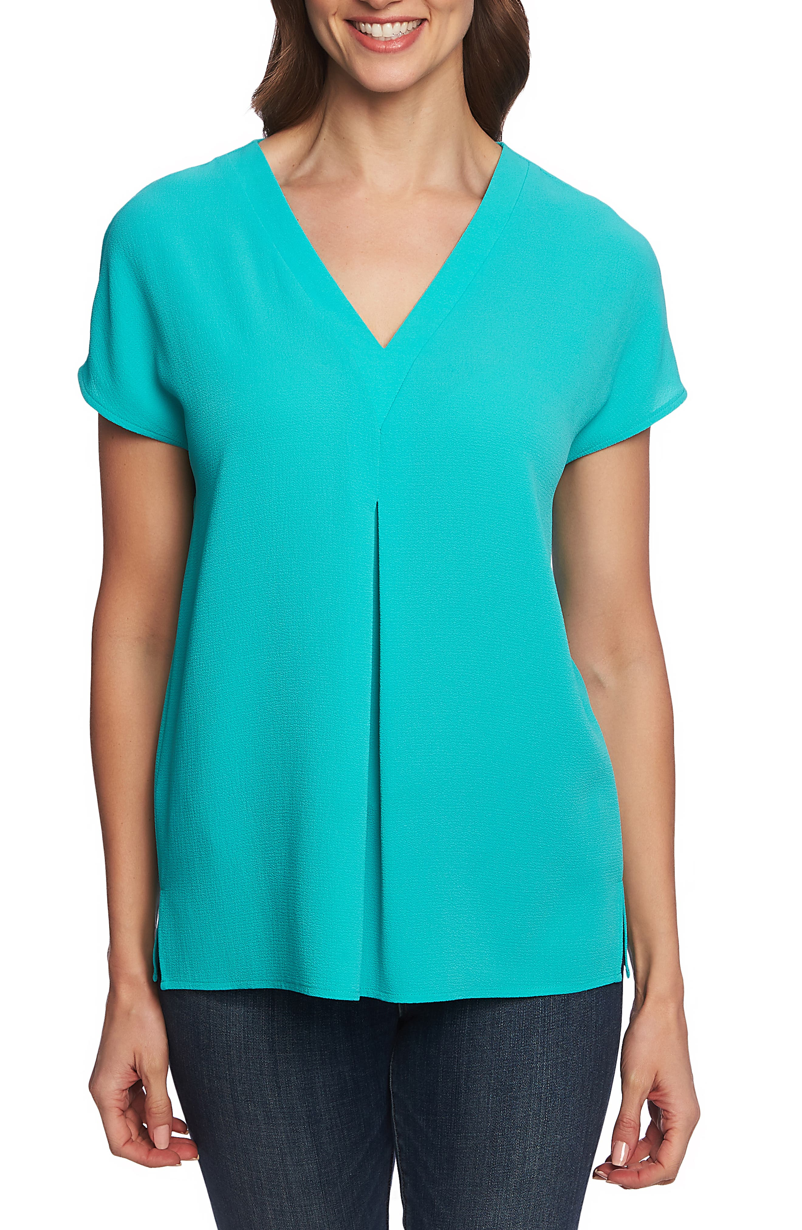 ,                             Invert Pleat Blouse,                             Main thumbnail 1, color,                             TIKA TEAL