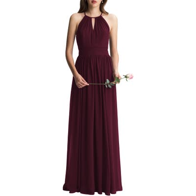 #levkoff Keyhole Chiffon A-Line Gown, Red