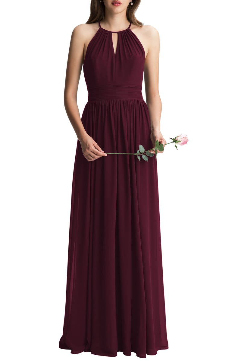 #LEVKOFF Keyhole Neck Chiffon A-Line Gown, Main, color, WINE