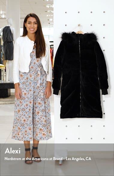 Alexandra Velvet Down Jacket with Faux Fur Trim, sales video thumbnail