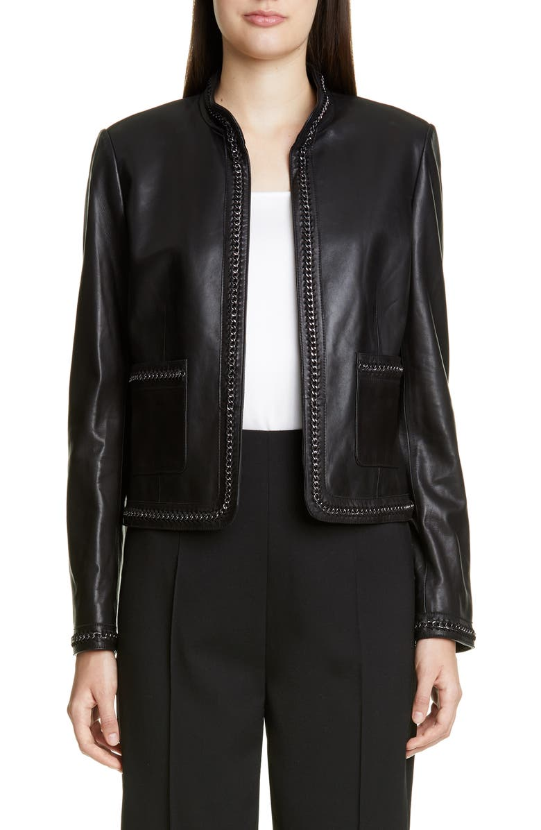 ST. JOHN COLLECTION Chain Detail Leather Jacket, Main, color, CAVIAR
