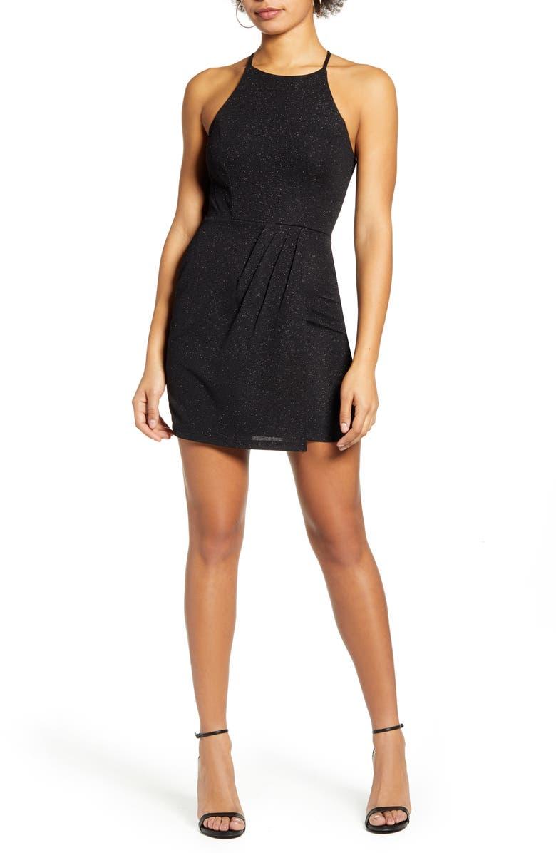 SPEECHLESS Glitter Knit Minidress, Main, color, BLACK