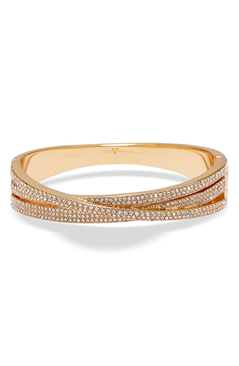 VINCE CAMUTO Crystal Pavé Crossover Bangle, Main, color, GOLD