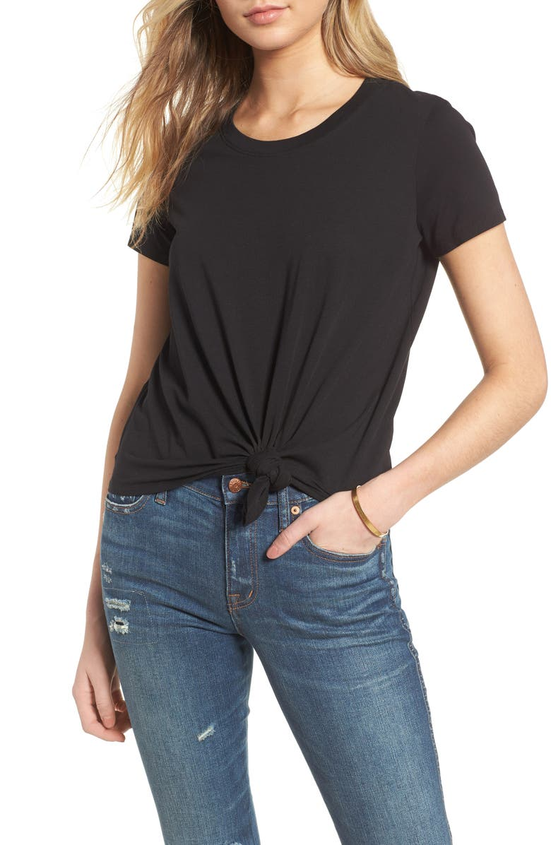MADEWELL Knot Front Tee, Main, color, 001