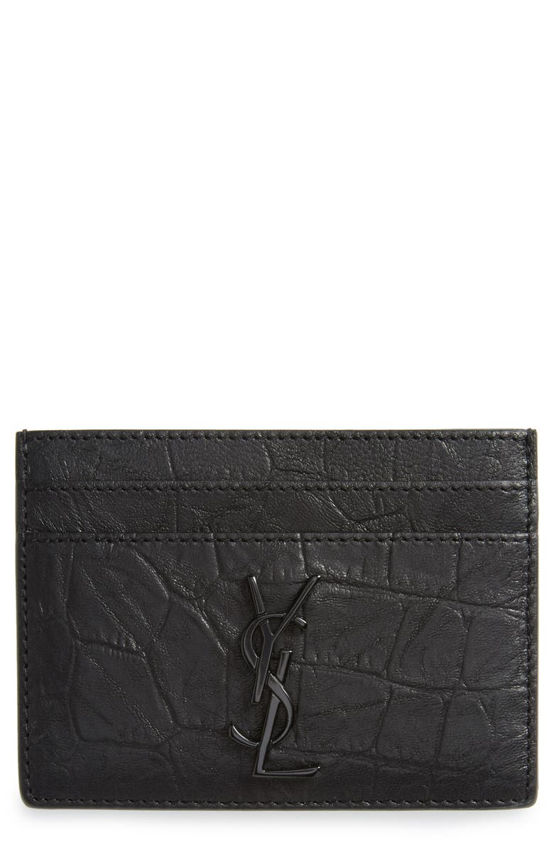 SAINT LAURENT Croc Embossed Calfskin Leather Card Case, Main, color, 001