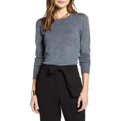 Halogen Crewneck Merino Wool Blend Sweater, Grey