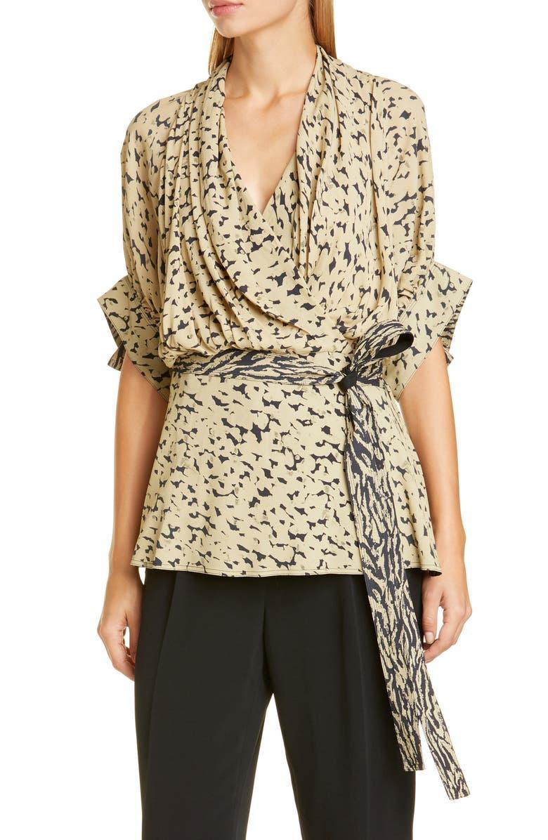 PROENZA SCHOULER Leopard Print Drape Faux-Wrap Blouse, Main, color, BLACK/ SAGE INKY LEOPARD