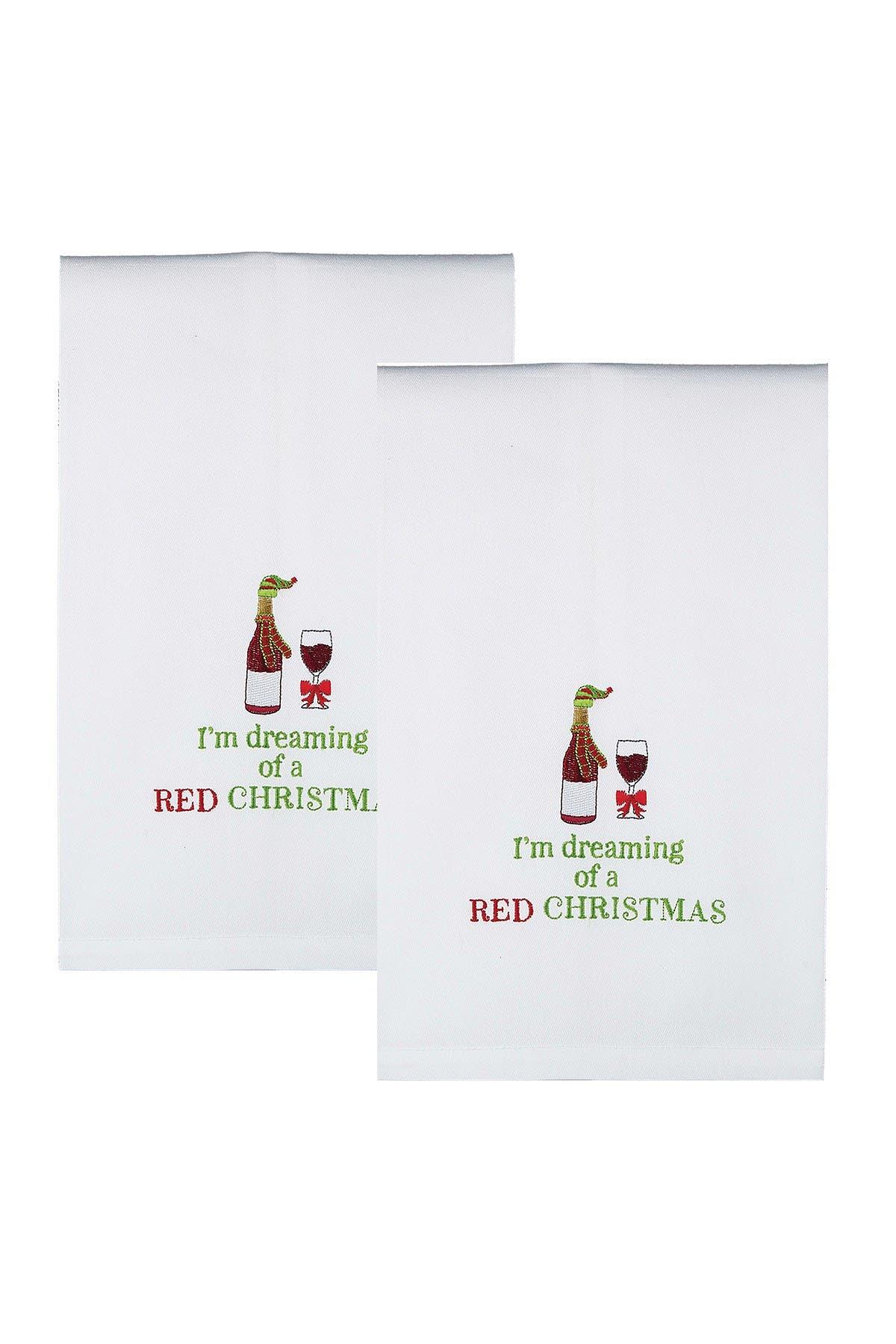 Image of Peking Handicraft Red Christmas Kitchen Towel - Set of 2