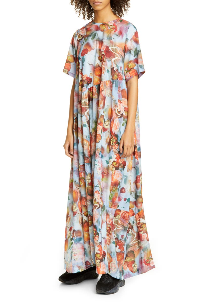 COLLINA STRADA Ritual Tomato Print Maxi Dress, Main, color, 400