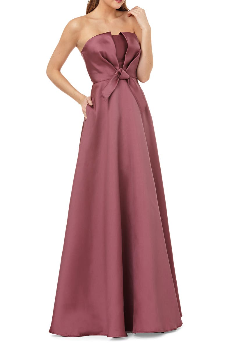 KAY UNGER Mikado Strapless Satin Ballgown, Main, color, 660