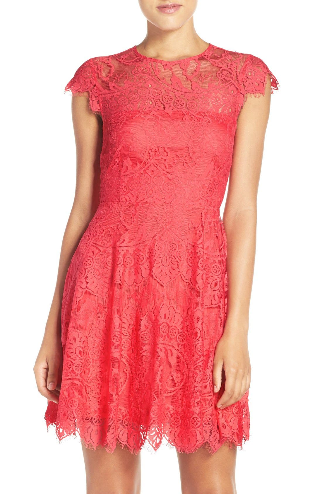,                             Rhianna Open Back Lace Fit & Flare Cocktail Dress,                             Alternate thumbnail 85, color,                             956