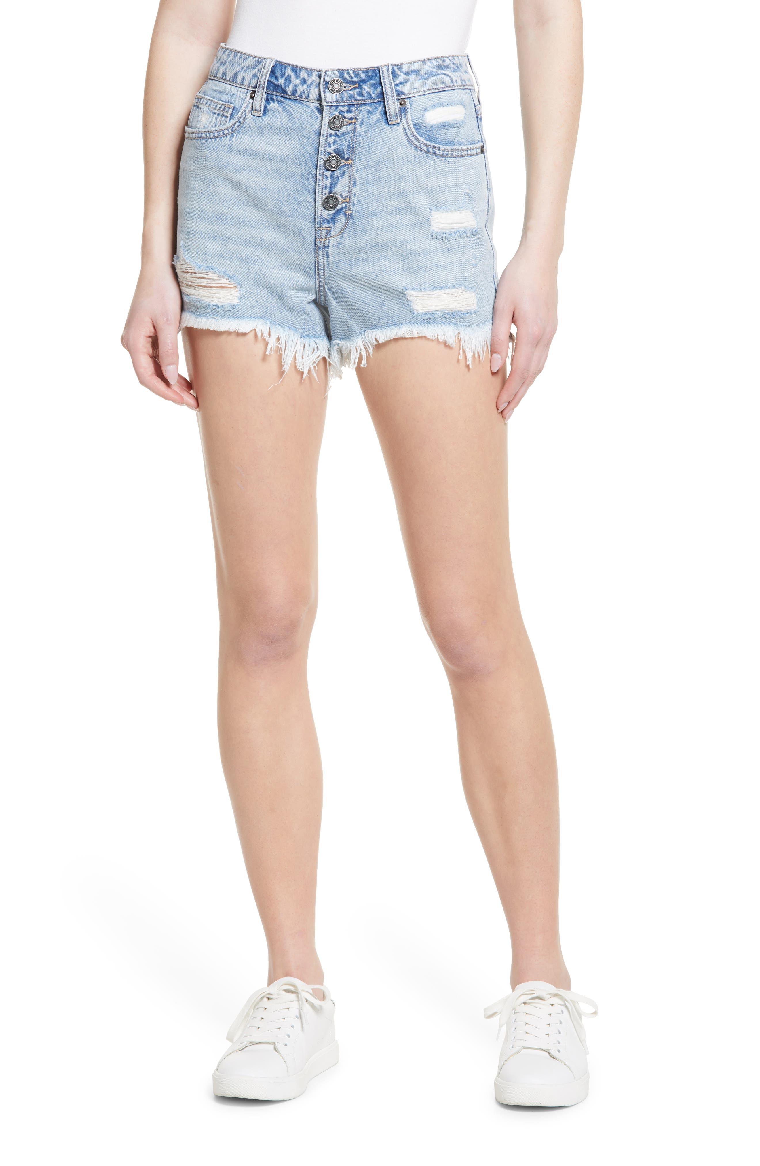 Distressed High Waist Nonstretch Cutoff Denim Mom Shorts