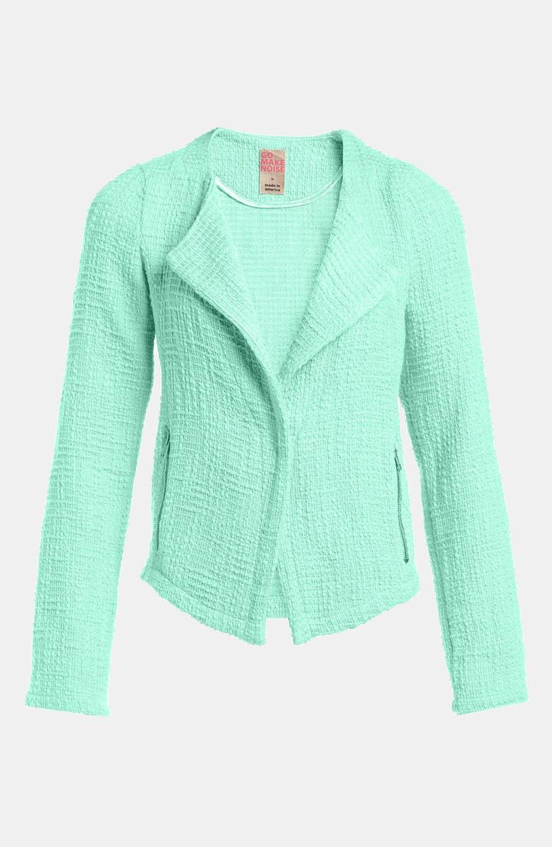 GO MAKE NOISE Textured Drape Front Jacket, Main, color, 330