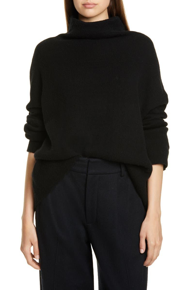 VINCE Wool Blend Funnel Neck Pullover, Main, color, BLACK