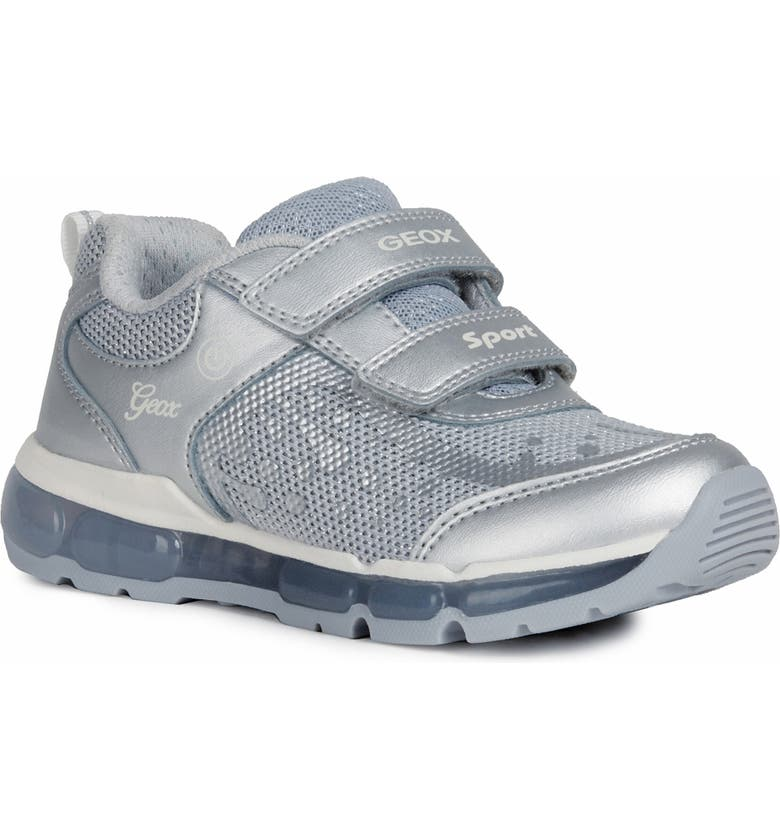 GEOX Android 25 Metallic Light-Up Sneaker, Main, color, SILVER