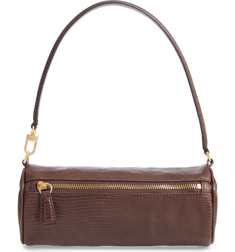 STAUD Suzy Leather Barrel Baguette Bag, Main, color, BROWN