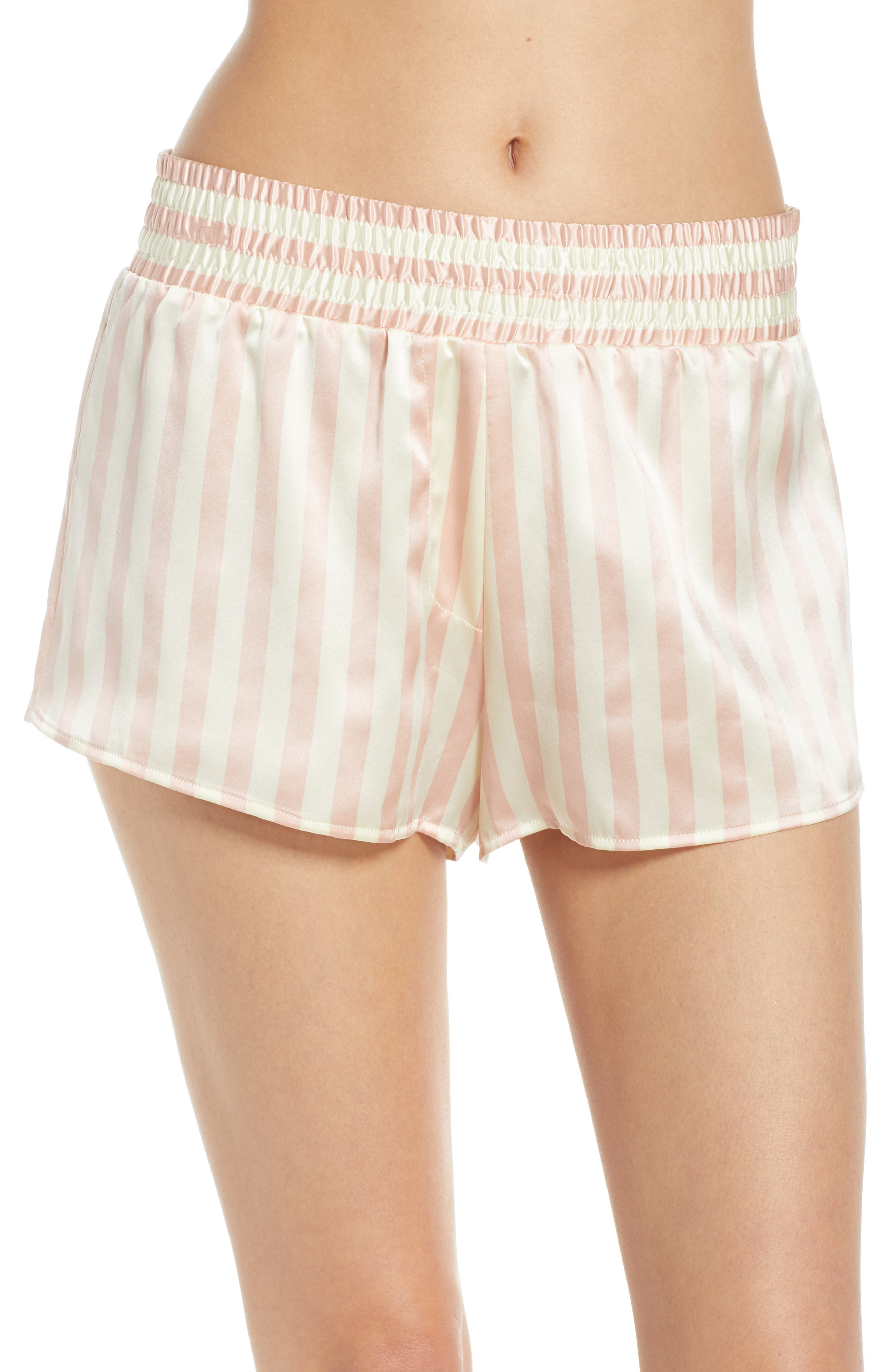 Morgan Lane Corey Silk Pajama Shorts, Size Petite - Pink