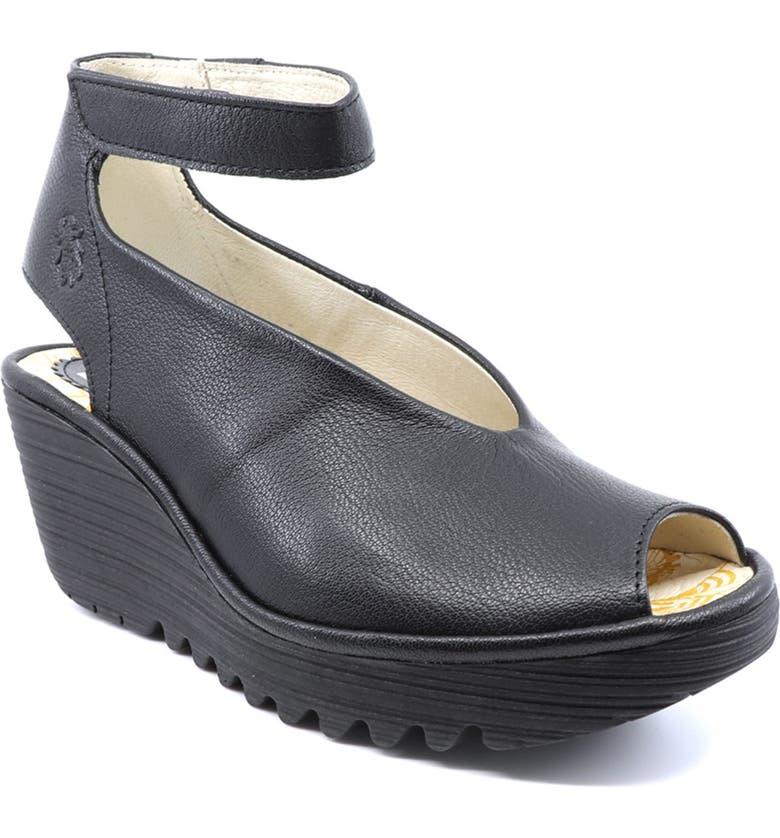 FLY LONDON 'Yala' Sandal, Main, color, BLACK/ BLACK MOUSSE
