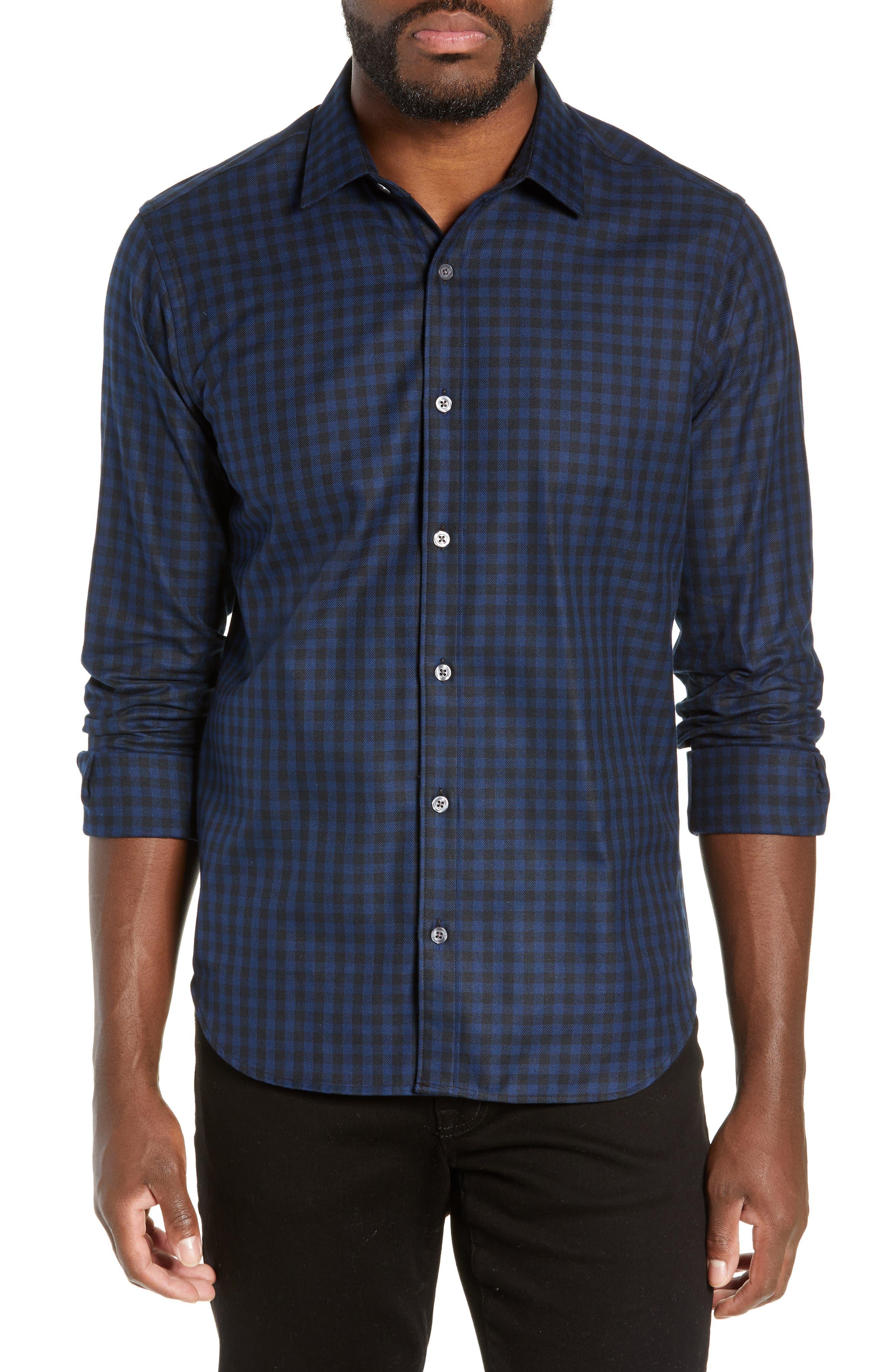 Jeff Buffalo Slim Fit Check Flannel Shirt, Blue