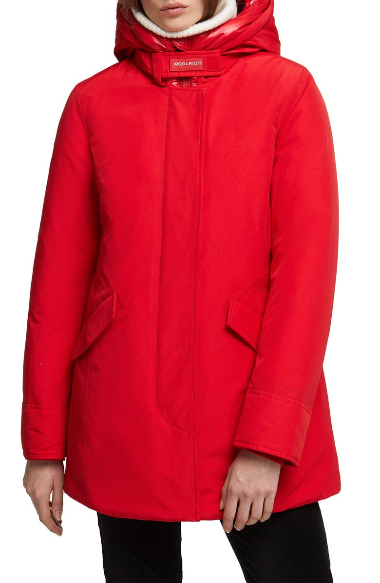 WOOLRICH Arctic Hooded Down Parka, Main, color, MARINE SCARLET