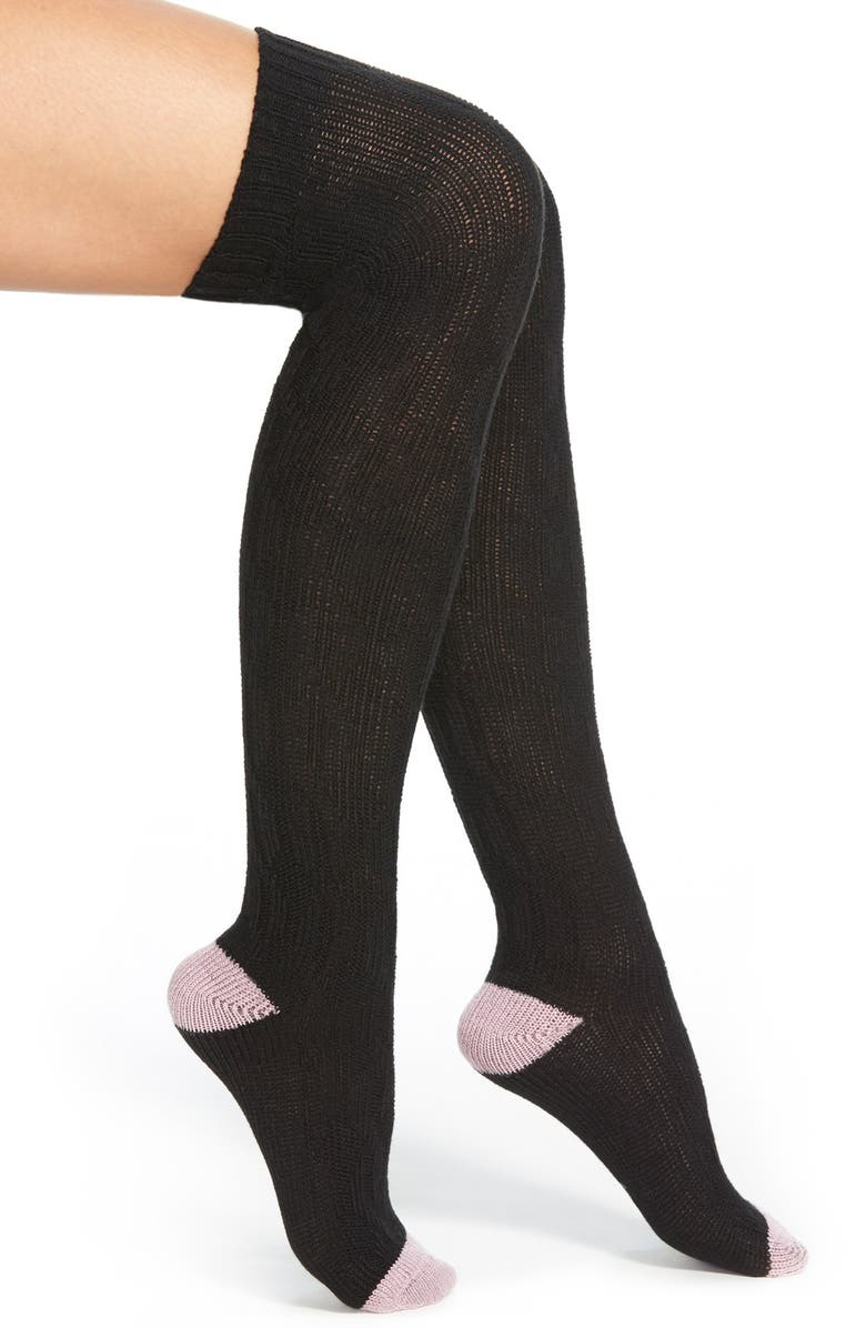KENSIE Cable Knit Over the Knee Socks, Main, color, 002